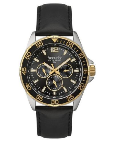 Accurist Men's Quartz Watch with Black Dial Analogue Display and Black Leather Strap MS1041B