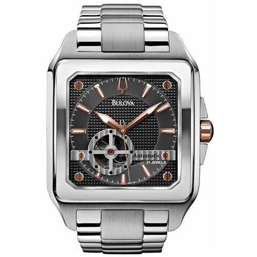 Bulova Men's Automatic Watch with Grey Dial Analogue Display and Silver Stainless Steel Bracelet 98A132
