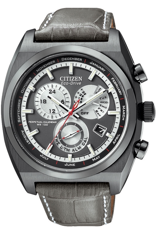 Citizen Men's Eco Drive Watch with Black Dial Analogue Display and Grey Leather Strap BL8127-02E