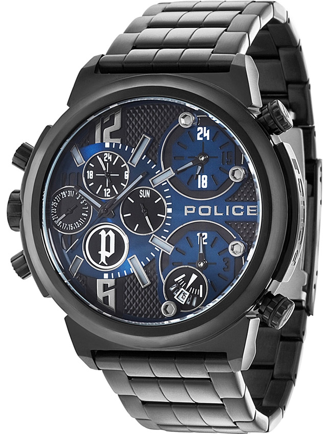 Police Python Men's Quartz Watch with Blue Dial Analogue Display and Black Stainless Steel Plated Bracelet
