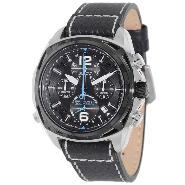 Bulova Precisionist Men's UHF Watch with Black Dial Analogue Display and Black Leather Strap 98B226