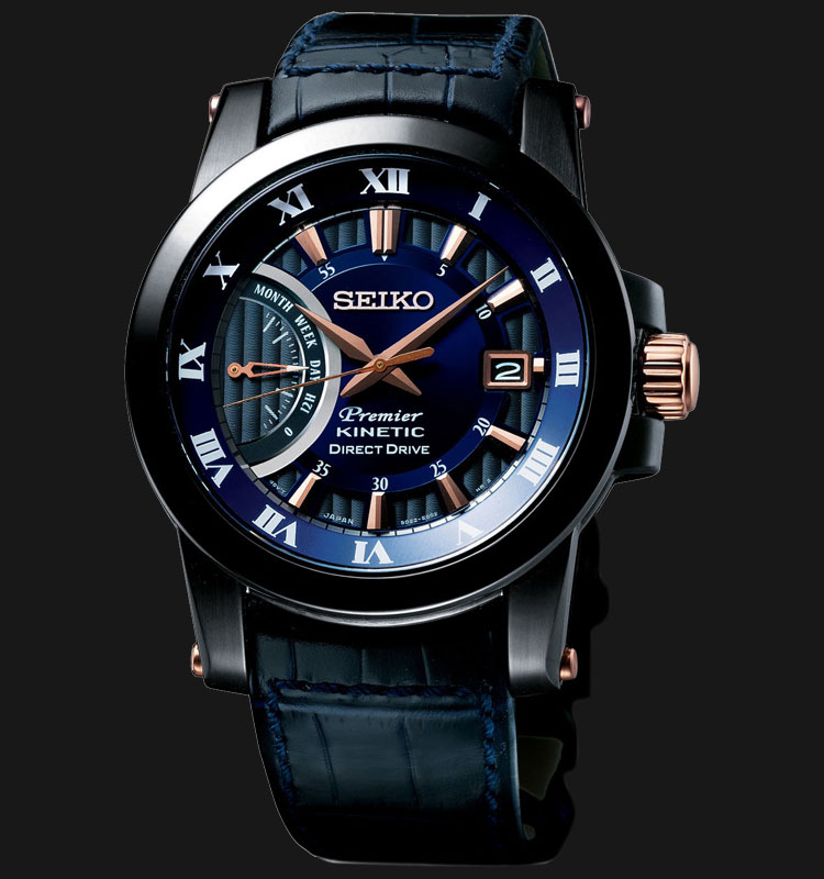 Seiko Men's Blue & Black IP Steel Direct Drive Kinetic SRG012P1
