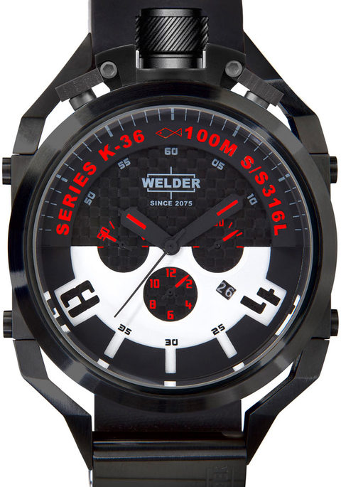 Welder Men's Quartz Watch with Black Dial Chronograph Display and Black Rubber Strap K36-2401