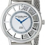 Stuhrling Original Winchester Del Sol Elite Swiss Men's Quartz Watch with Silver Dial Analogue Display and Ultra Slim Silver Stainless Steel Mesh Bracelet 388M.01