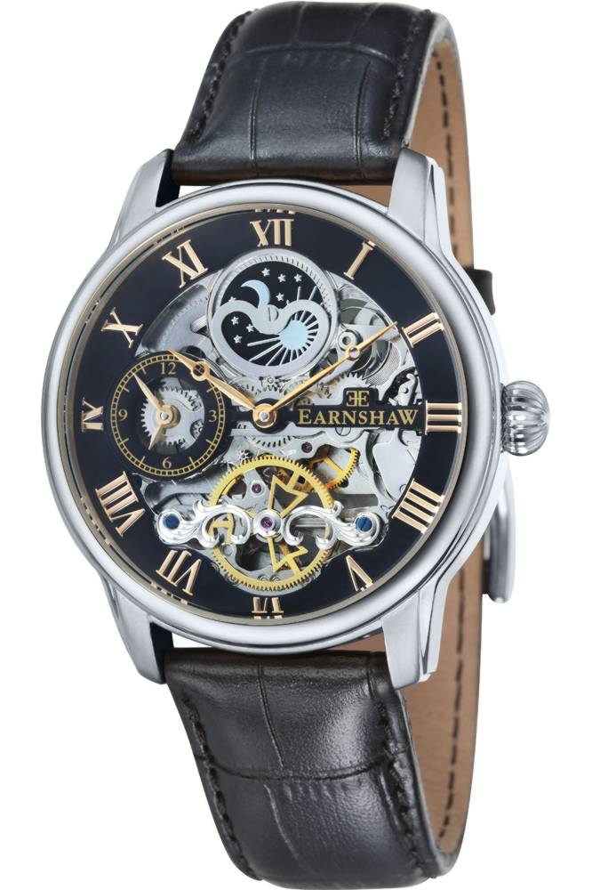 Thomas Earnshaw Skeleton Longtitude Men's Automatic Watch with Black Dial Analogue Display and Black Leather Strap ES-8006-04