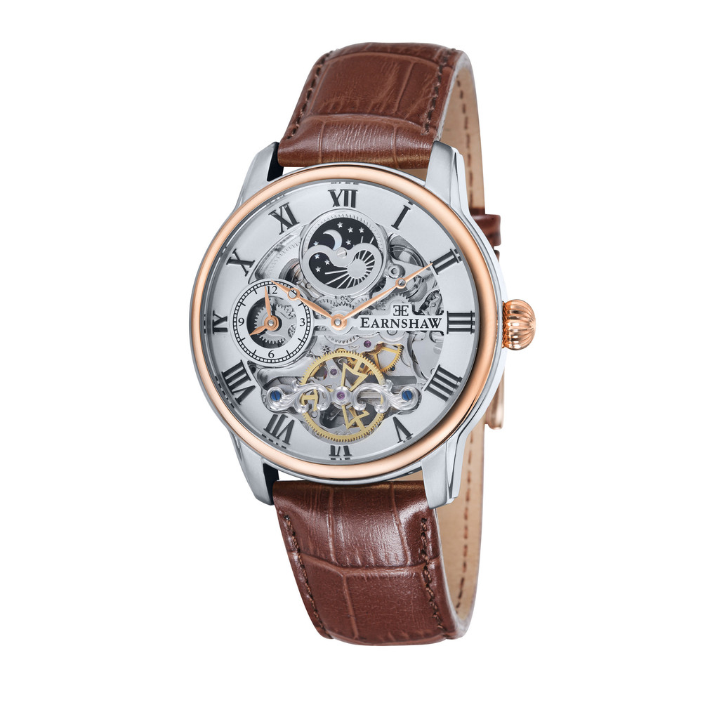 Thomas Earnshaw Skeleton Longtitude Men's Automatic Watch with White Dial Analogue Display and Brown Leather Strap ES-8006-03