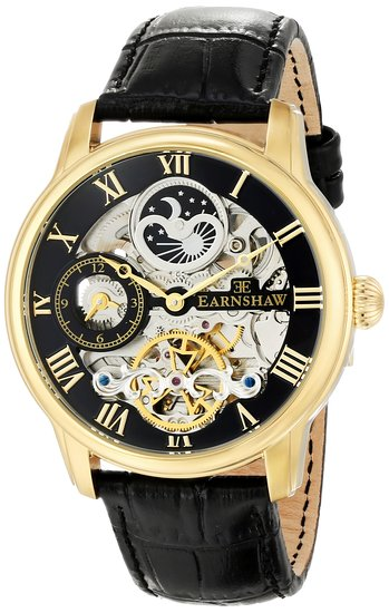 Thomas Earnshaw Men's ES-8006-05 Londitude Analogue Automatic Skeleton 2 Hands with Dual Time, Black Watch