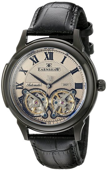 Thomas Earnshaw Observatory Double Barrel from the Midnight Collection Men's Automatic Watch with Grey Dial Analogue Display and Black Leather Strap ES-8030-06