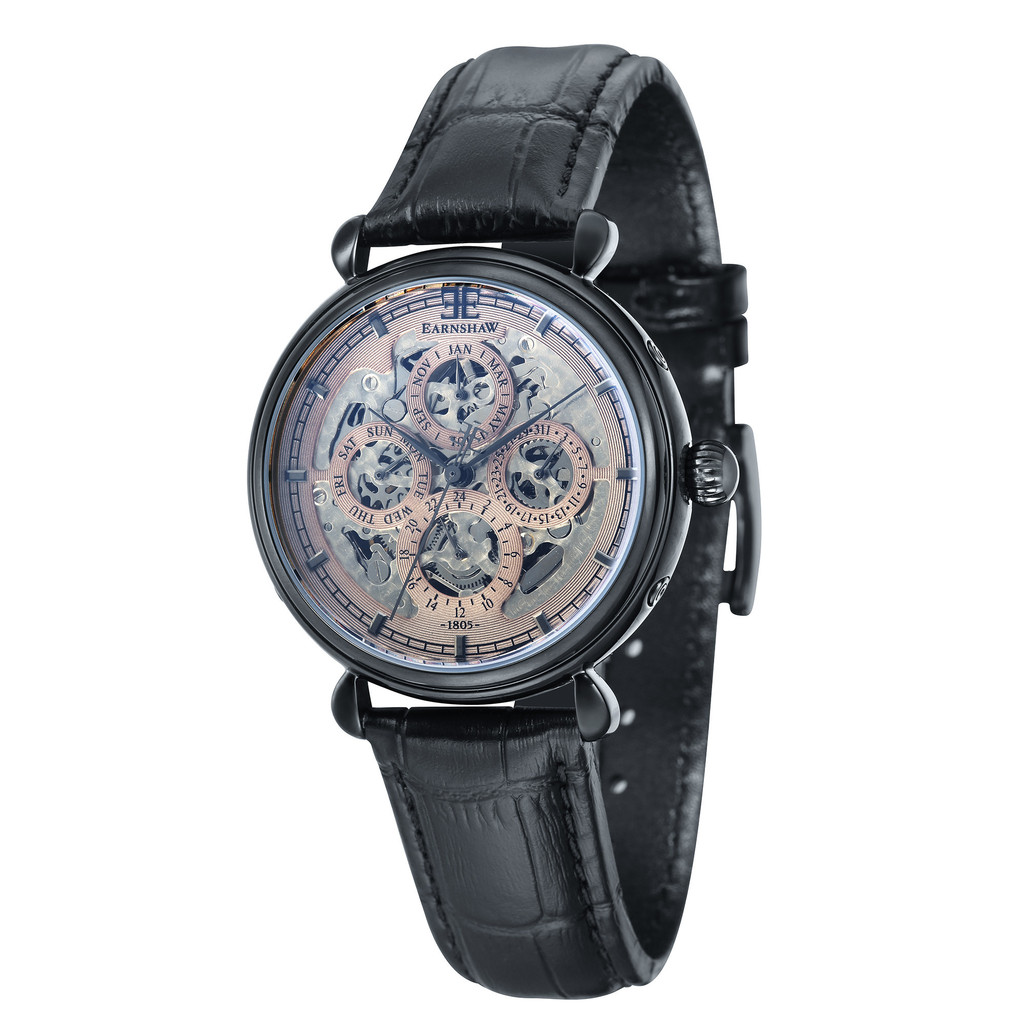 Thomas Earnshaw Grand Calendar from the Midnight Collection Men's Automatic Watch with Grey Dial Analogue Display and Black Leather Strap ES-8043-06