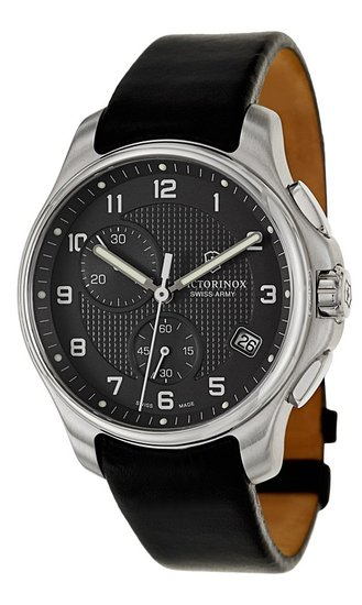 Swiss Army 241552 Stainless Steel Case Black Calfskin Men's Watch