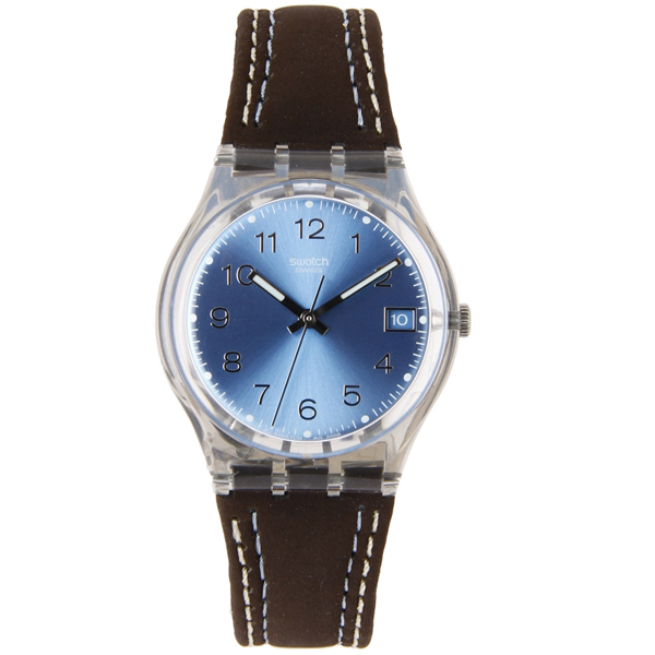 Swatch Unisex Blue Choco Dark Brown Leather Strap Watch