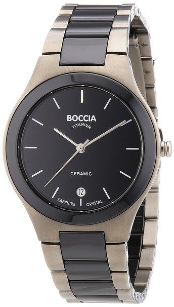 Boccia Men's Quartz Watch with Black Dial Analogue Display and Black Titanium Bracelet B3564-02