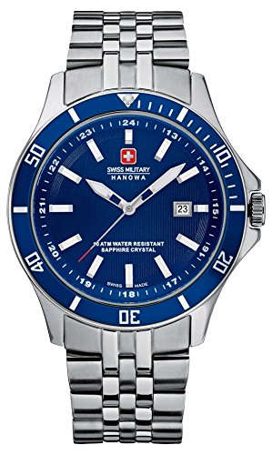 Swiss Military Flagship Men's Quartz Watch with Blue Dial Analogue Display and Silver Stainless Steel Bracelet 6-5161.7.04.003