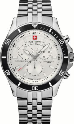 Swiss Military Flagship Chrono Men's Quartz Watch with White Dial Chronograph Display and Silver Stainless Steel Bracelet 6-5183.04.001.07