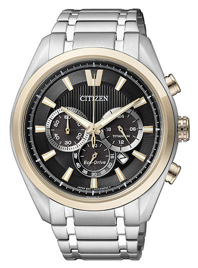 Citizen Watch Mens Titanium Men's Quartz Watch with Black Dial Analogue Display and Silver Titanium Bracelet CA4017-59E