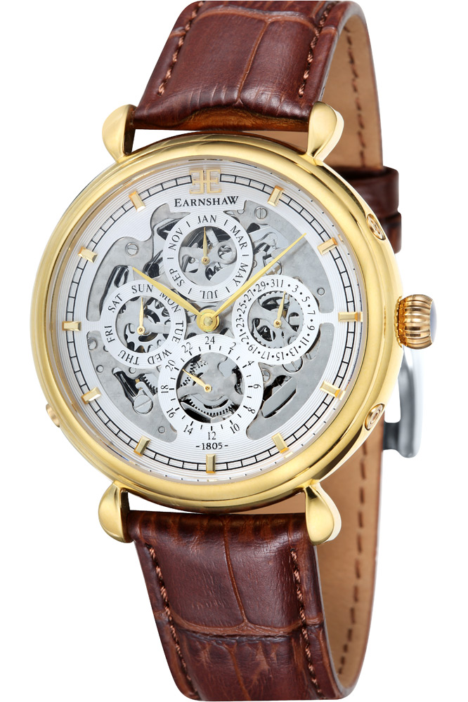 Thomas Earnshaw Grand Calendar Men's Automatic Watch with White Dial Analogue Display and Brown Leather Strap ES-8043-03