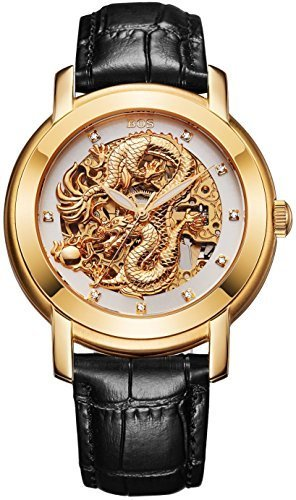 BOS Men's 'Dragon Collection' Luxury Calfskin Band Automatic Mechanical Skeleton Gold Watch 9007