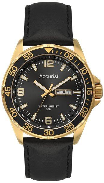 Accurist Men's Quartz Watch with Black Dial Analogue Display and Black Leather Strap MS1044B