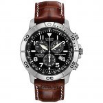 BL5250-02L Mens Citizen Chronograph Brown Leather Strap Watch