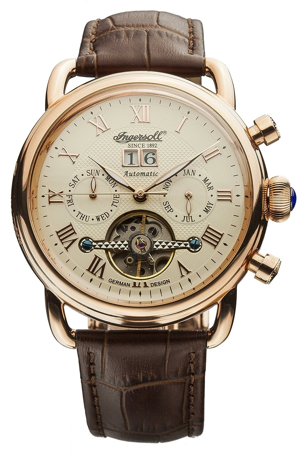 Ingersoll Unisex Automatic Watch with Beige Dial Analogue Display and Brown Leather Strap IN1810CR