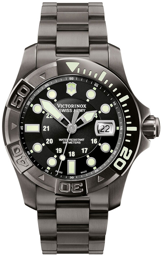 Swiss Army 241429 43mm Black Steel Bracelet & Case Anti-Reflective Sapphire Men's Watch