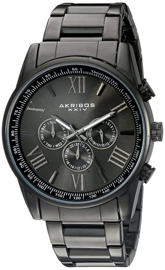 Akribos XXIV AK736BK 45mm Metal Case Black Steel Bracelet Synthetic Sapphire Men's Watch