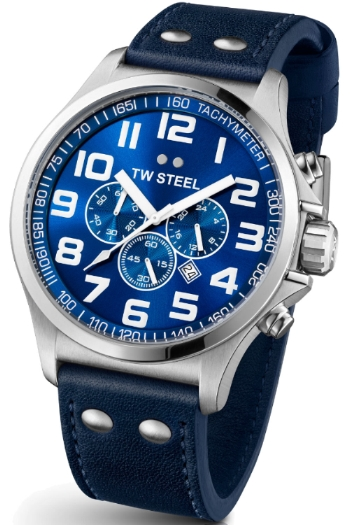 TW Steel Pilot Unisex Quartz Watch with Blue Dial Chronograph Display and Blue Leather Strap TW403