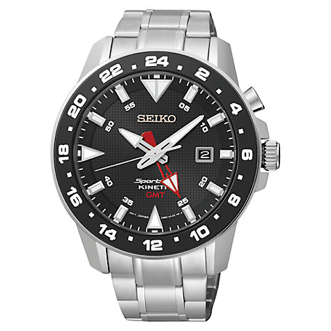 Gents/Mens Stainless Steel Seiko Sportura Kinetic GMT Watch on Bracelet with Black Dial, 100M Water Resistant & Sapphire Glass SUN015P1