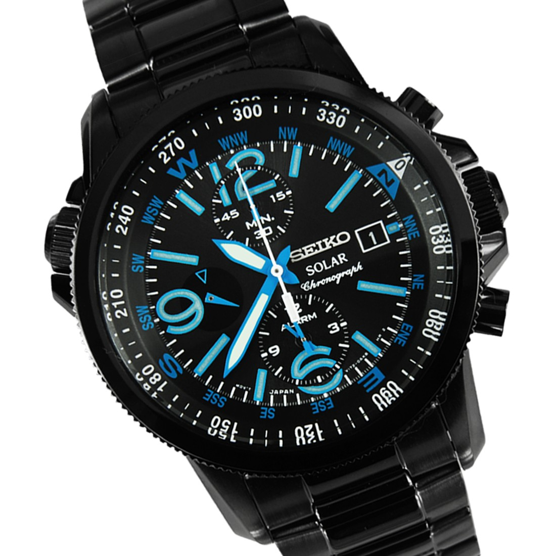 Seiko Men's SSC079 Solar Chronograph Black Bracelet Blue Numbers Watch