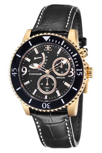 Thomas Earnshaw Admiral Men's Automatic Watch with Black Dial Analogue Display and Black Leather Strap ES-8008-04