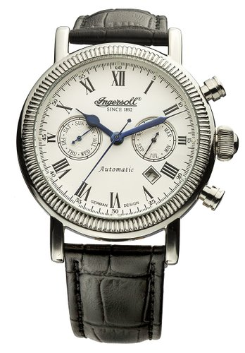 Ingersoll Unisex Automatic Watch with White Dial Analogue Display and Black Leather Strap IN1828WHR