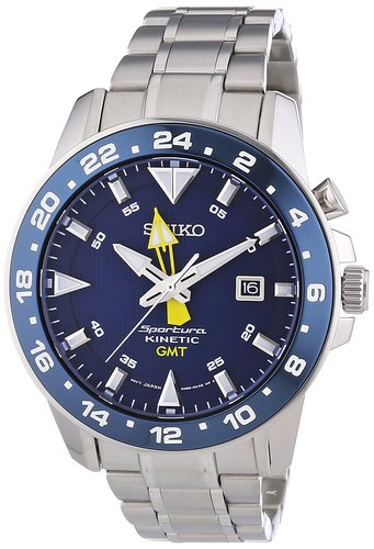 Seiko Men's Watch XL Analogue GMT Sportura Kinetic SUN017P1 Stainless Steel
