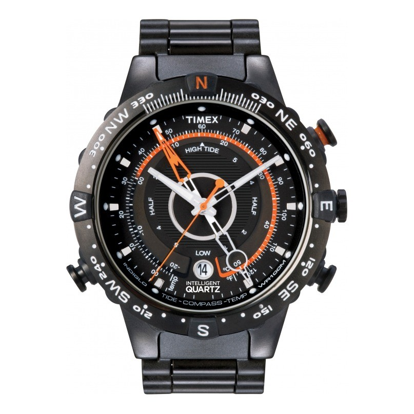 Timex Intelligent Quartz Men's Tide Temp Compass, Black IP Stainless Steel Case and Bracalet, Orange Accents - T2N723