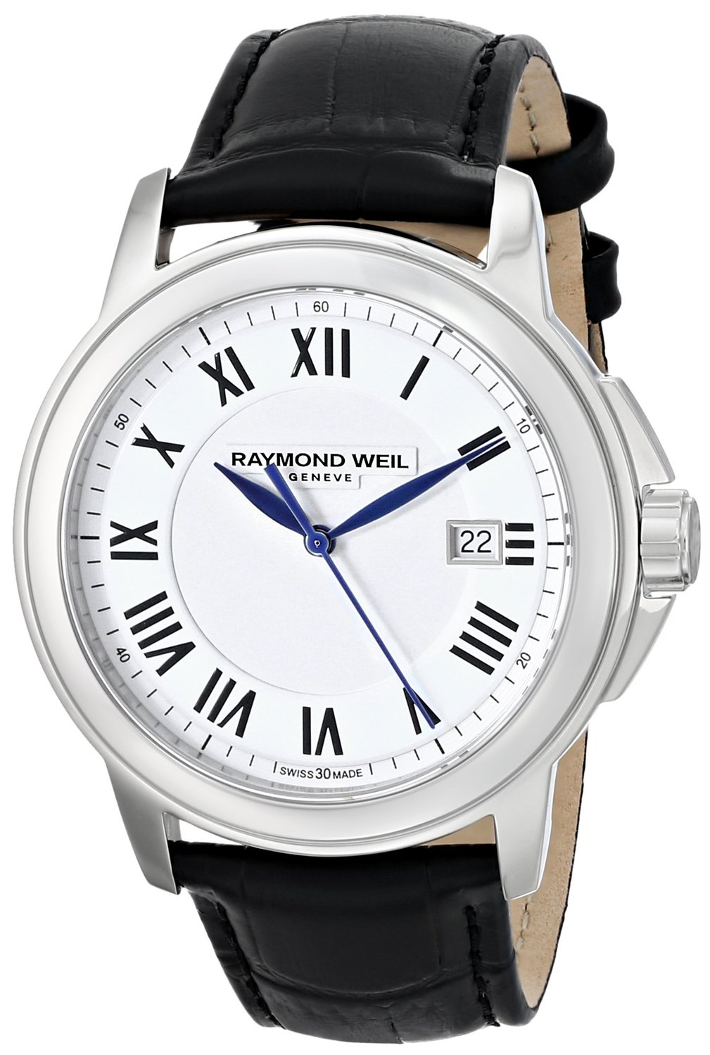 Raymond Weil 5478-STC-00300 40 Stainless Steel Case Black Silver Plated Stainless Steel Men's Watch