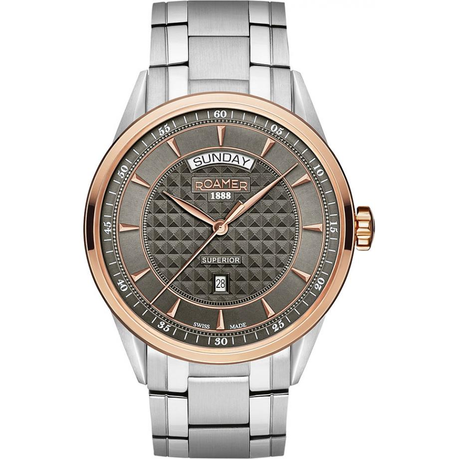 Roamer Superior Day Date Men's Quartz Watch with Grey Dial Analogue Display and Silver Stainless Steel Bracelet 508293 49 05 50