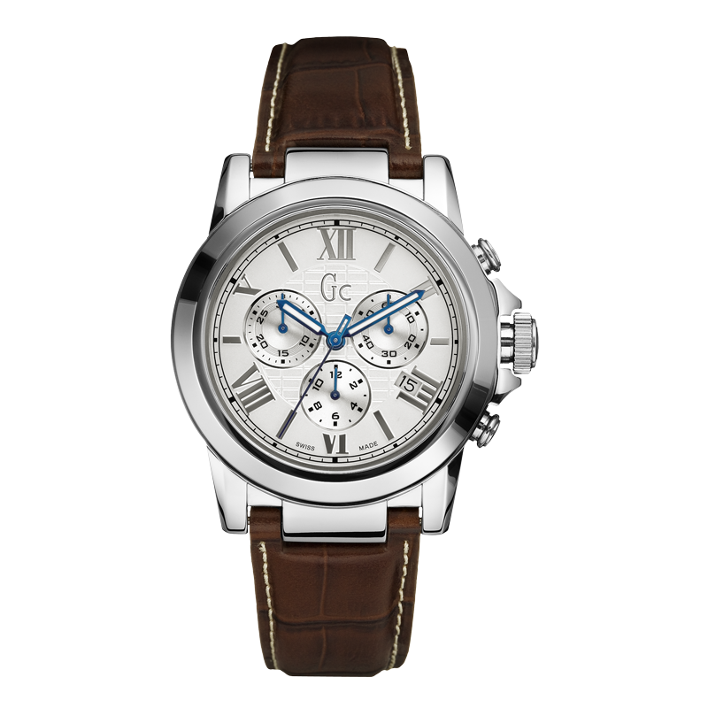 Guess Collection X41003G1 42mm Stainless Steel Case Brown Calfskin Synthetic Sapphire Men's Watch