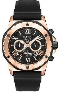 Bulova Marine Star Men's Quartz Watch with Black Dial Analogue Display and Black Rubber Strap 98B104