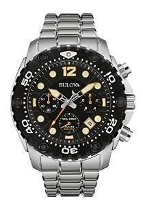 Bulova Sea King Men's UHF Watch with Black Dial Analogue Display and Silver Stainless Steel Bracelet 98B244