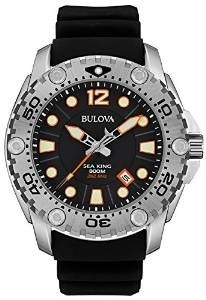 Bulova Sea King Men's UHF Watch with Black Dial Analogue Display and Black Rubber Strap 96B228