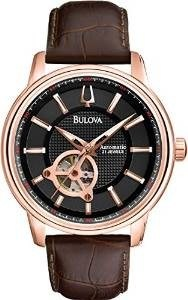 Bulova Automatic Men's Watch with Black Dial Analogue Display and Brown Leather Strap 97A109