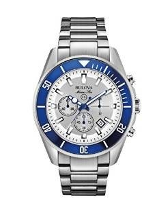 Bulova Marine Star Men's Quartz Watch with Silver Dial Analogue Display and Silver Stainless Steel Bracelet 98B204