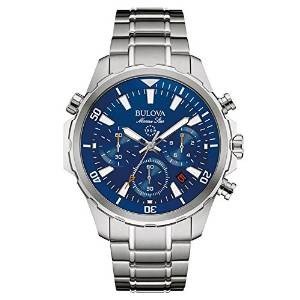 Bulova Marine Star Men's Quartz Watch with Blue Dial Chronograph Display and Silver Stainless Steel Bracelet 96B256