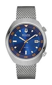 Bulova Accutron II Men's UHF Watch with Blue Dial Analogue Display and Silver Stainless Steel Bracelet 96B232
