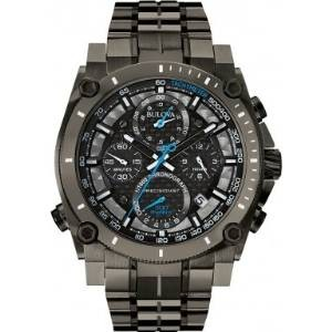 Bulova Precisionist Men's Quartz Watch with Black Dial Chronograph Display and Grey Stainless Steel Bracelet 98G229