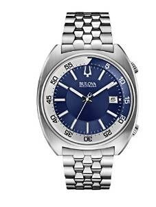 Bulova Accutron II Men's UHF Watch with Blue Dial Analogue Display and Silver Stainless Steel Bracelet 96B209