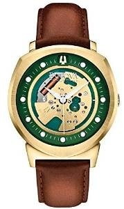 Bulova Accutron II Men's UHF Watch with Green Dial Analogue Display and Brown Leather Strap 97A110