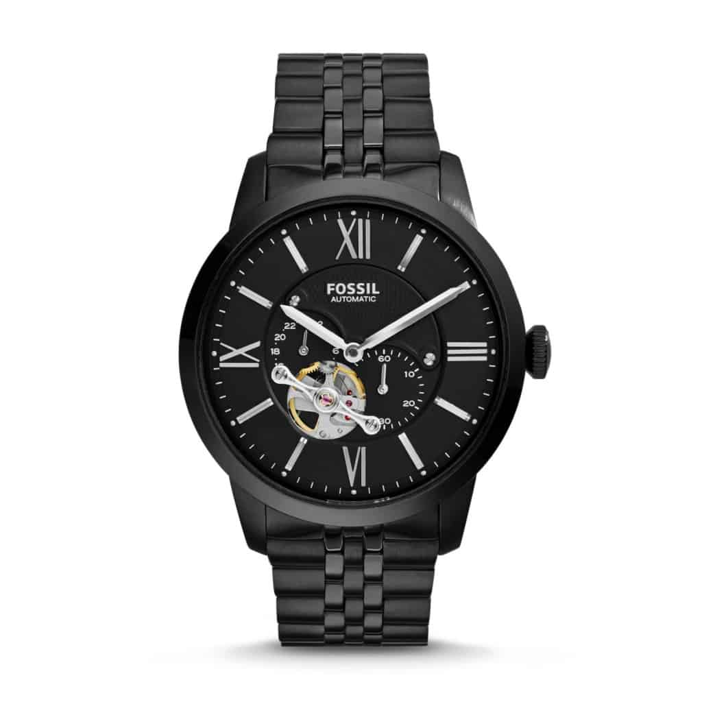 Fossil black automatic skeleton watch ME3062