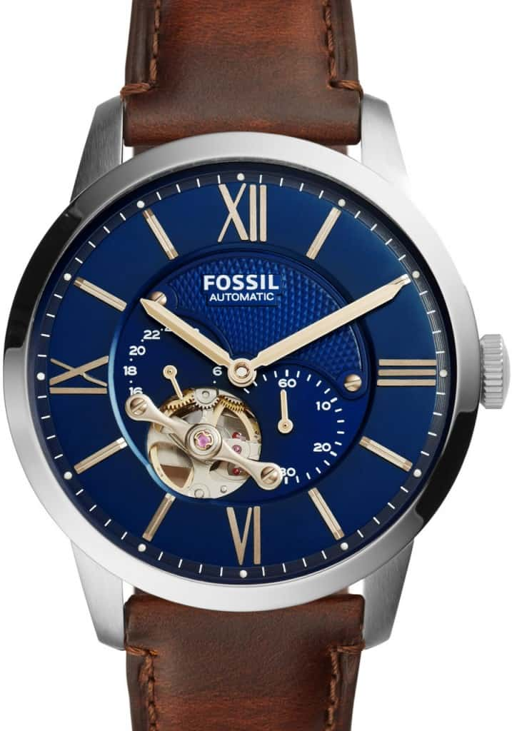 Fossil ME3110 Automatic Skeleton Watch with Brown Leather Strap