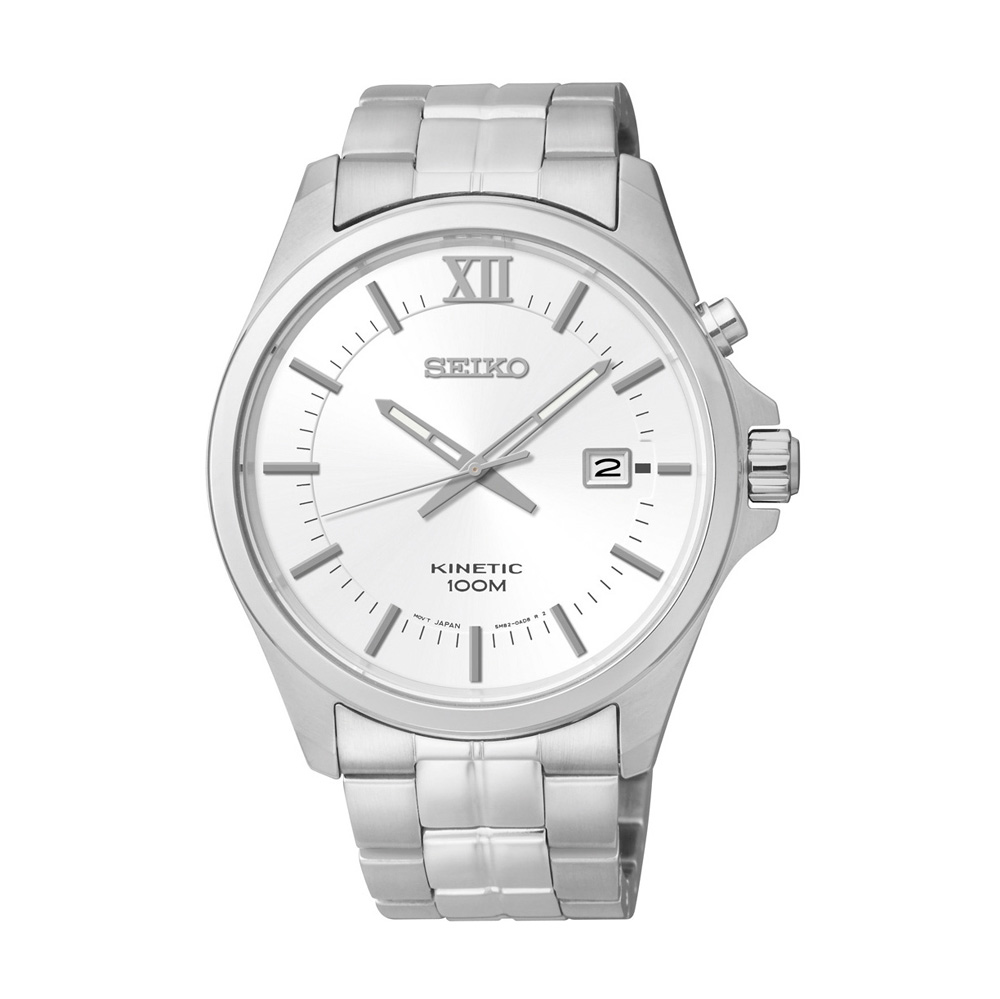 Seiko Men's Quartz Watch Kinetic SKA571P1 with Metal Strap