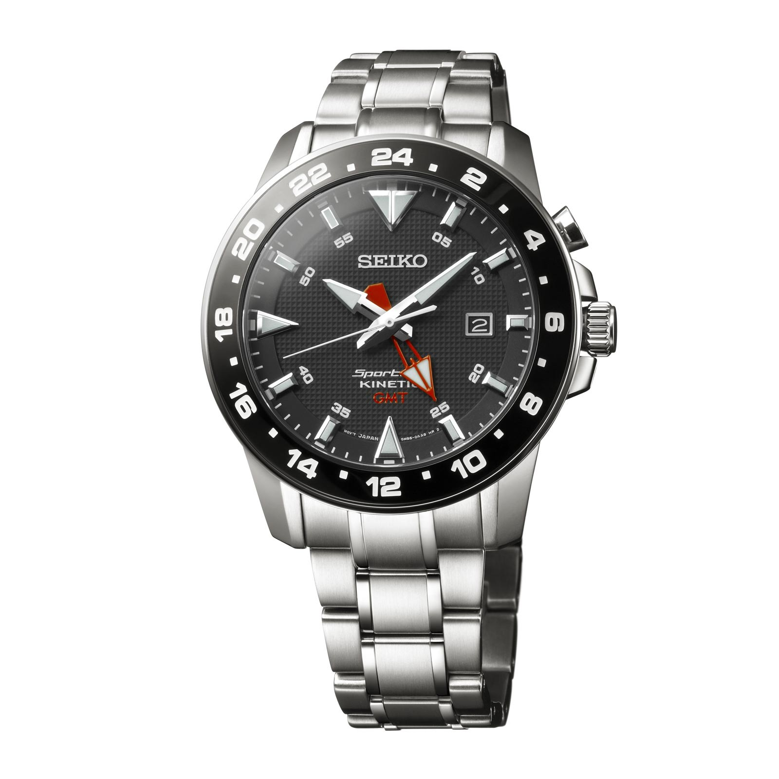 Seiko Men's Sportura Kinetic Stainless Steel Black Dial SUN015P1